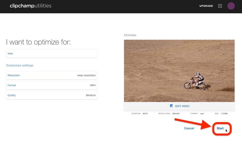 compress videos with Clipchamp online