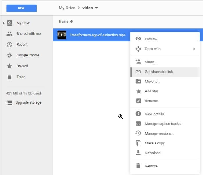 cloud service to share long videos - Google Drive