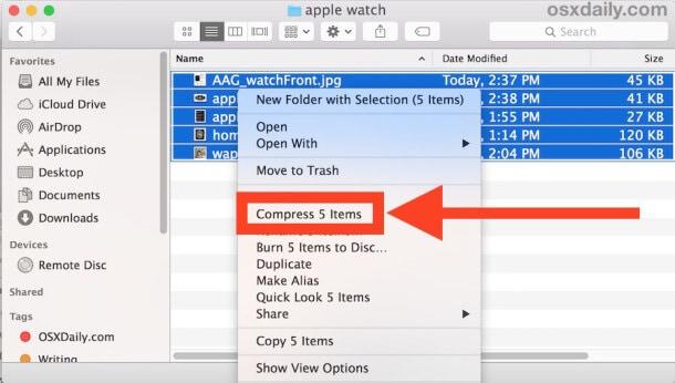 compress folder on Mac