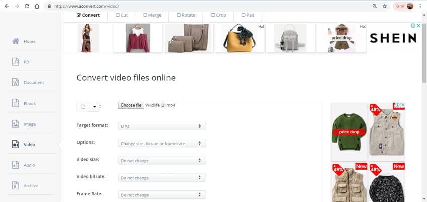 compress video online free - AConvert