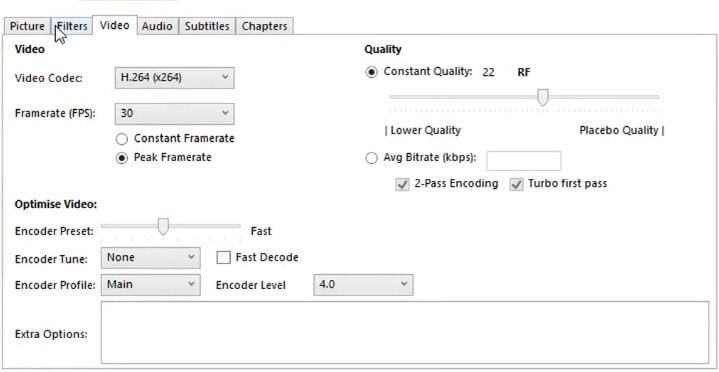 select settings for video compressor
