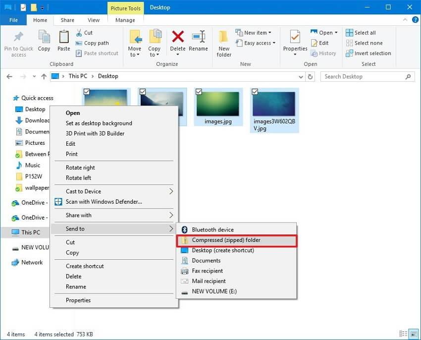 compress folder in Windows