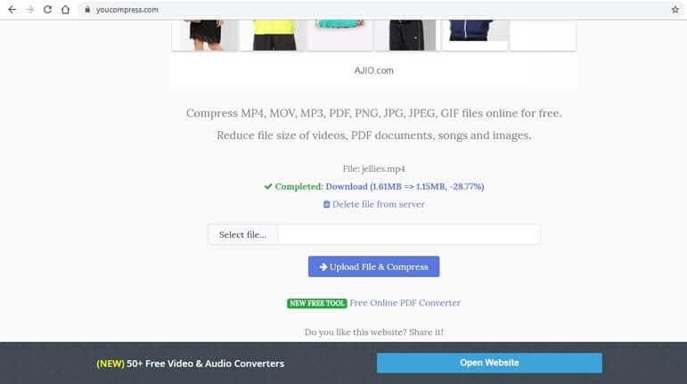compressor de vídeo grátis - youcompress