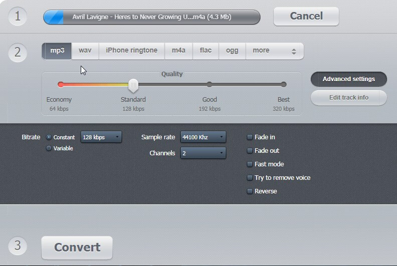 compress M4A online - Audio Converter