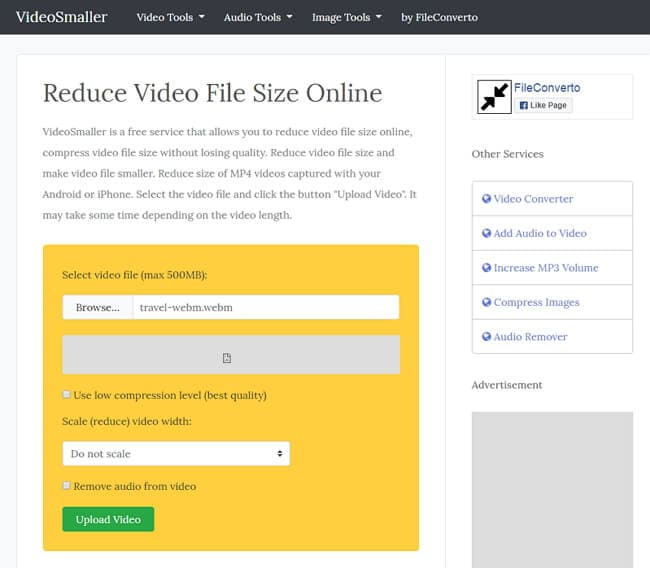 reduce MP4 file size online