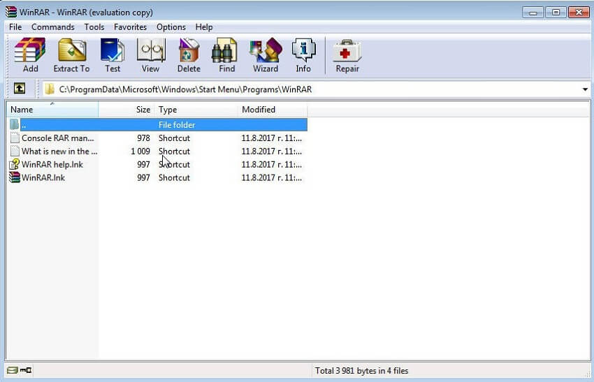 compress folder with WinRAR