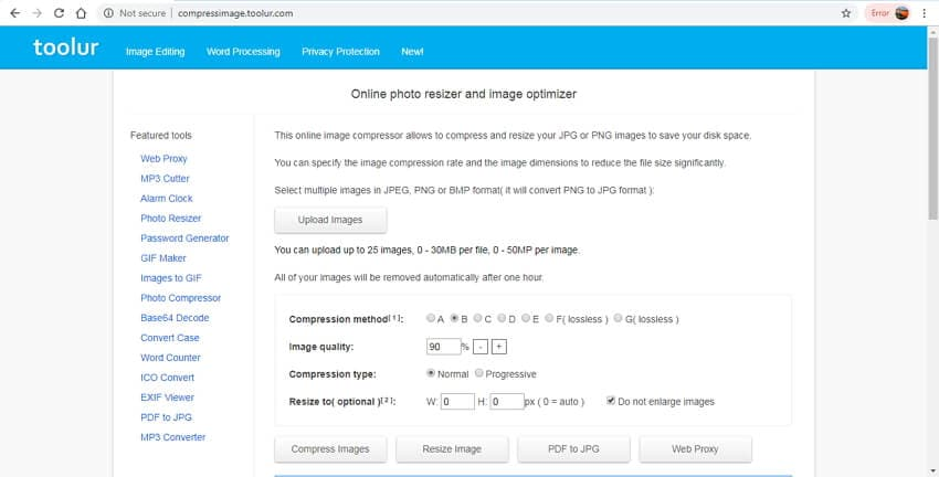 online image size reducer - toolur
