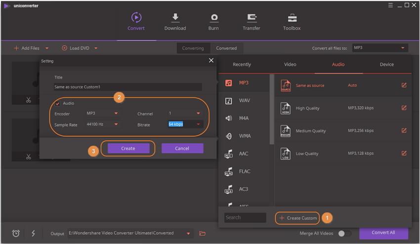 customize audio compression settings