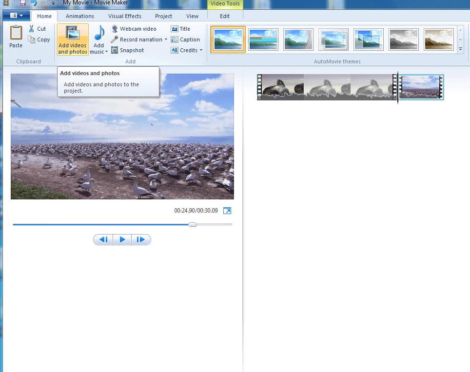 Add files to Windows Movie Maker to make file size smaller