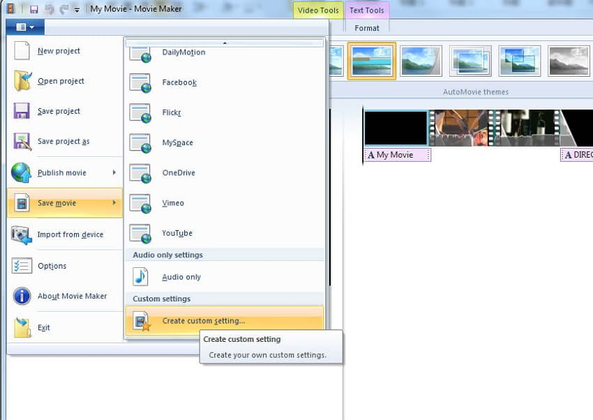 Adjust settings to make file size smaller with Windows Movie Maker