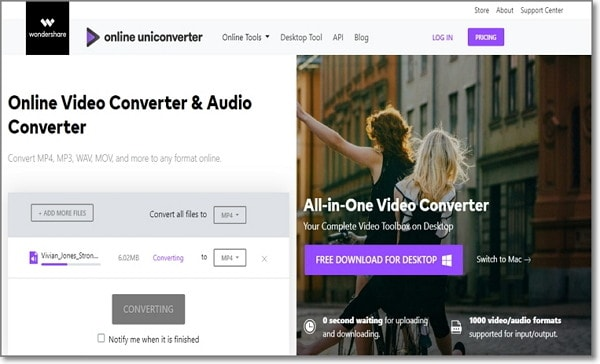 convert Opus to MP3 by Online UniConverter