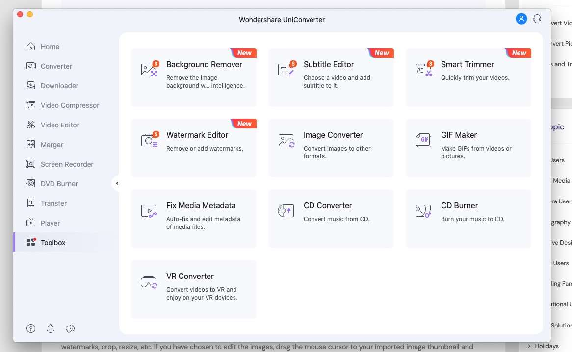 Download the wondershare uniconverter App