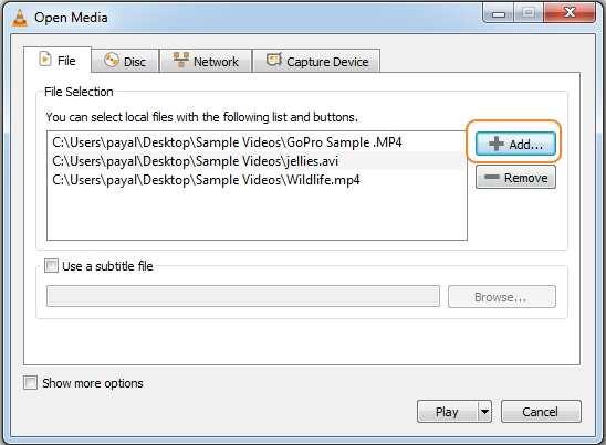 add file in VLC