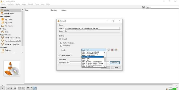 choose output format in VLC