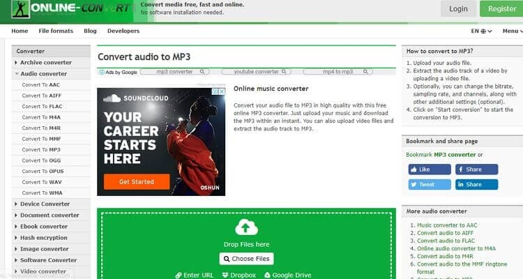 convert audio file online-Online Convert