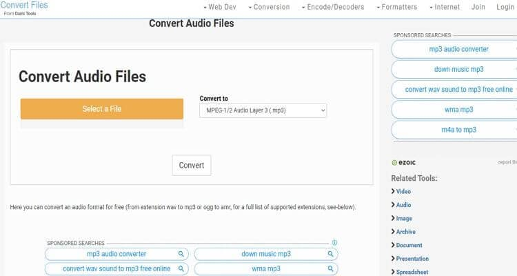 convert audio file online-Convert Files