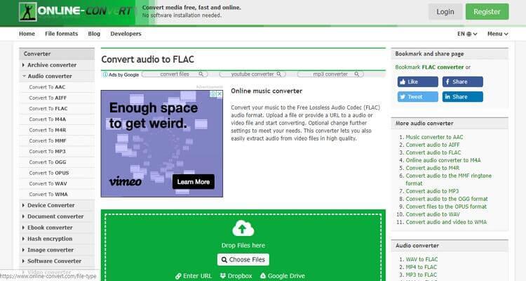 FLAC Online Video Converter -Online-Convert
