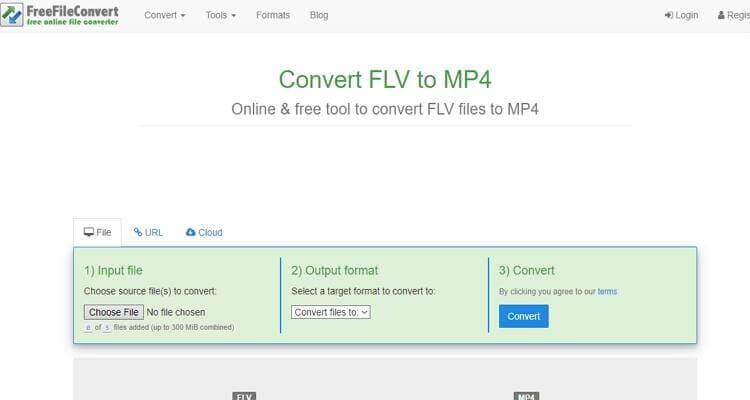 convert FLV file online-FreeFileConvert
