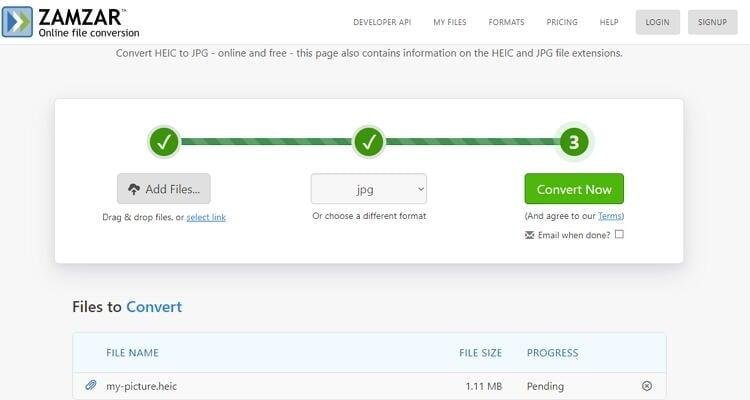 convert HEIC to JPEG online-Zamzar