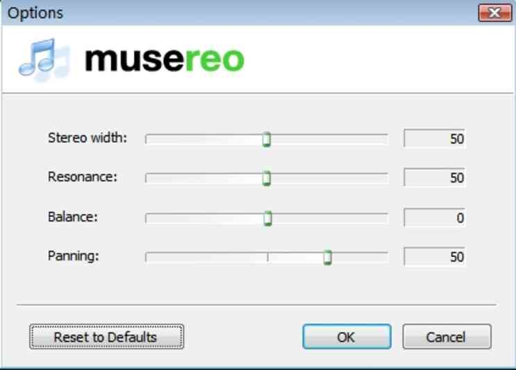 choose Options button in Musereo