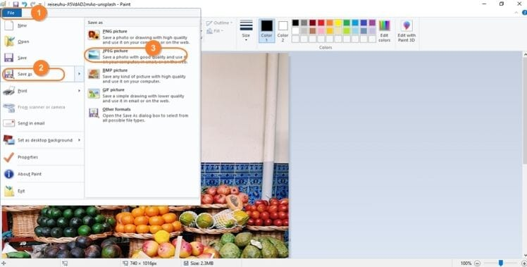 choose File button in Paint app