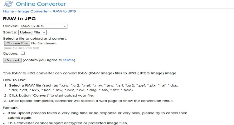 Convert Raw to JPEG Online-Online Converter