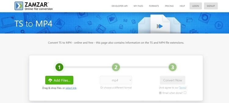 convertir TS en MP4 en ligne-Zamzar