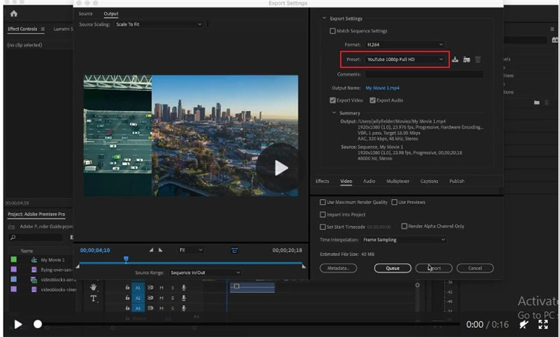 adobe premiere export for youtube
