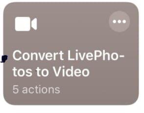 select convert livephotos to video button