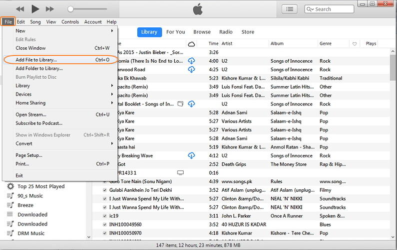 add files to the iTunes library