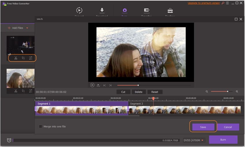 Edit TS files before dvd burning Windows 10