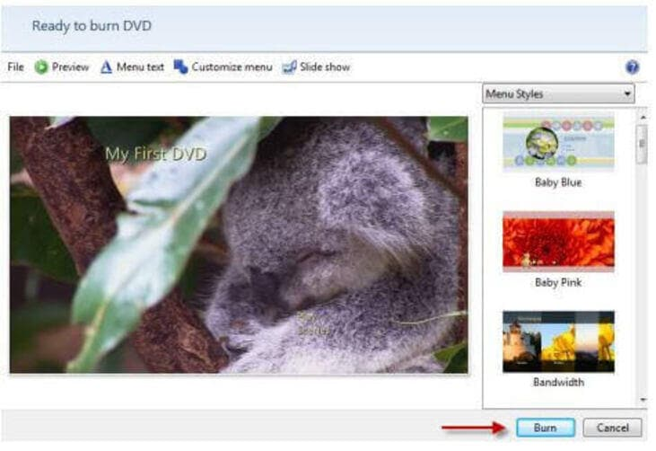 Click Burn to Start Burning Videos to DVD