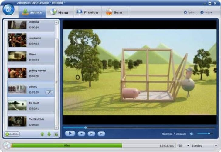 Windows XP DVD Makers - Aimersoft DVD Creator