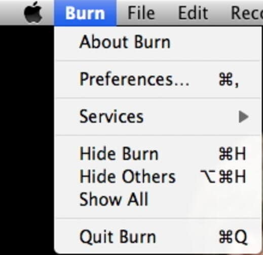choose Burn menu