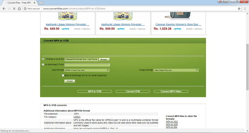 convert mp4 to dvd format online with Convert.files
