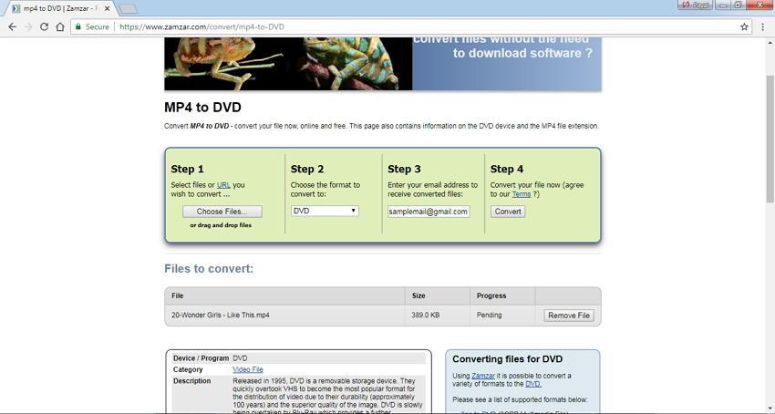 mp4 to dvd video converter free online Zamzar