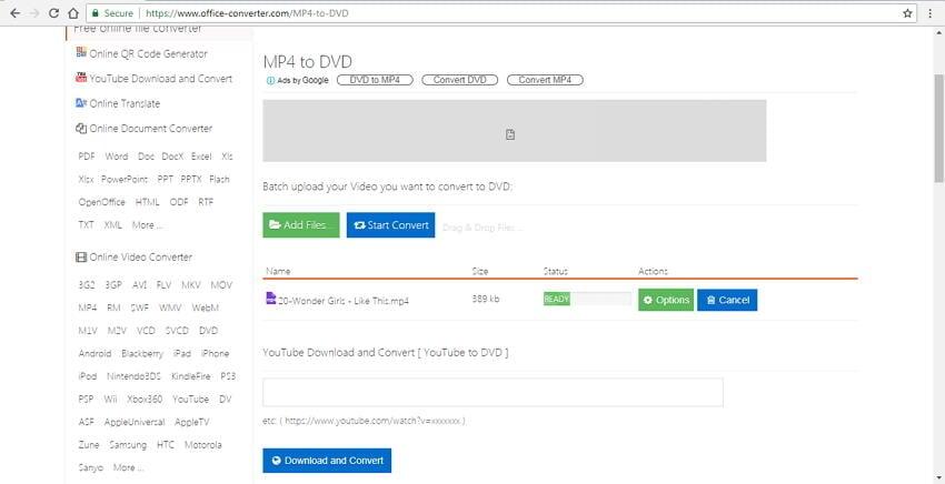 mp4 to dvd converter online Office Converter