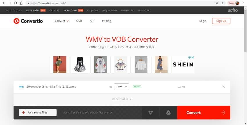 online WMV to VOB converter - Convertio