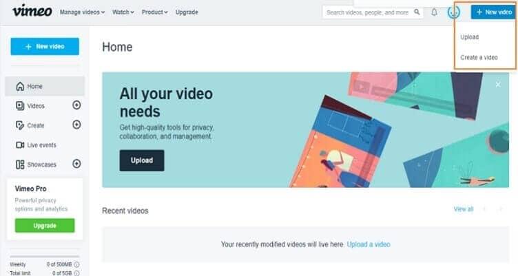 Video auf Vimeo laden Schritt 1