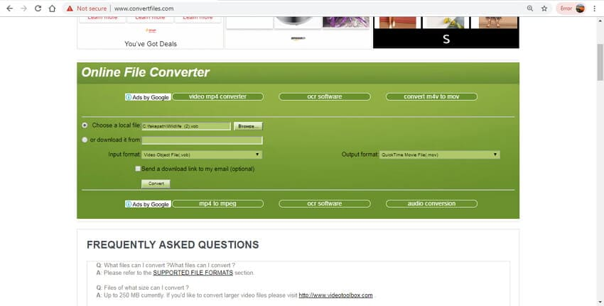 convert vob to mov online - ConvertFiles