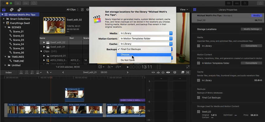 how to save final cut pro project