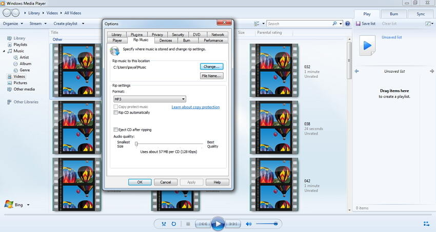 video zu MP3 mit Windows Media Player konvertieren