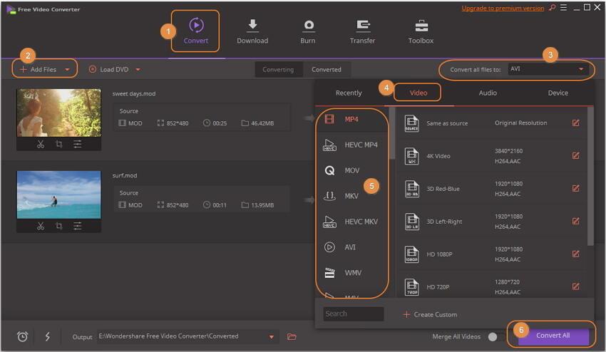 Free MOD Converter - Wondershare Free Video Converter