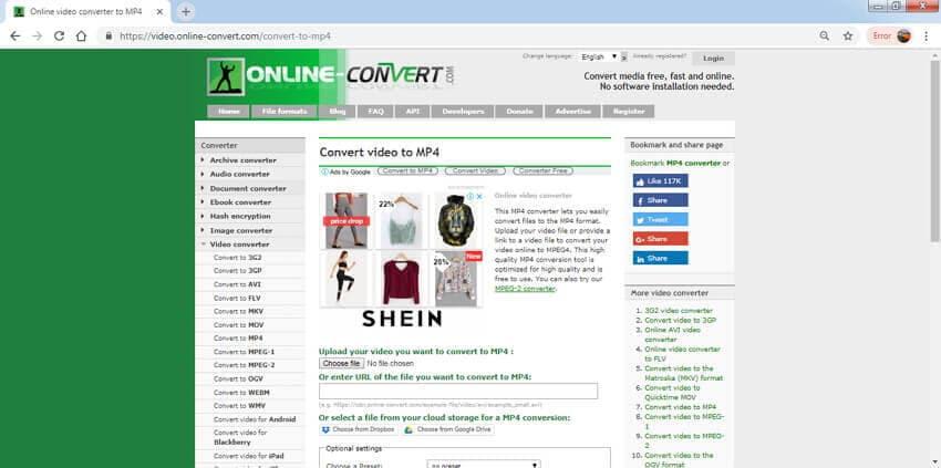 free video converter Online-Convert