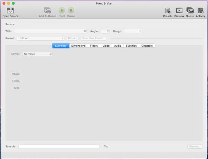 free video converter Handbrake for Mac