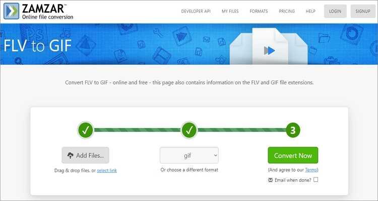 FLV to GIF Online Converter-Zamzar