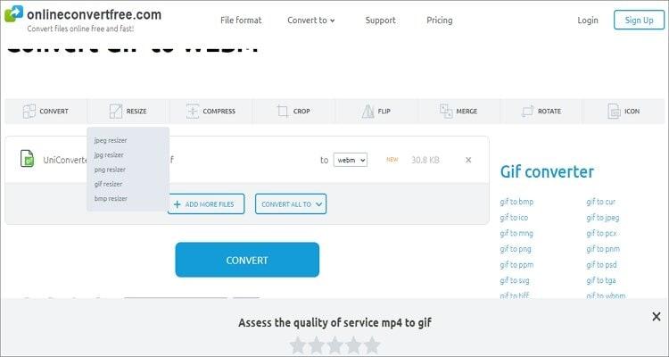 Convert GIF to WebM Online -Onlineconvertfree