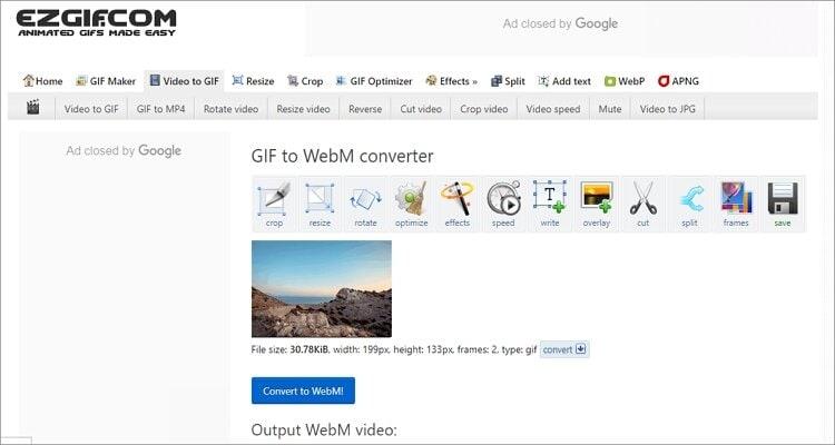 Convert GIF to WebM Online -Ezgif