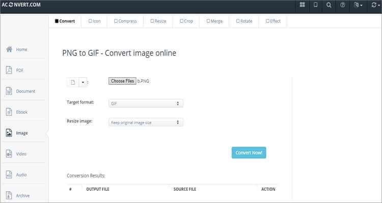 Convert PNG to GIF Online Free -Aconvert