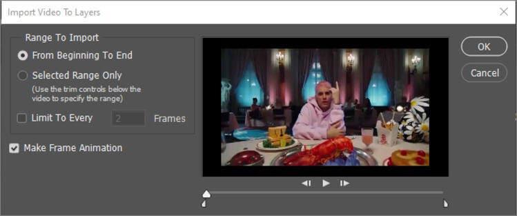 choose make framae animation menu
